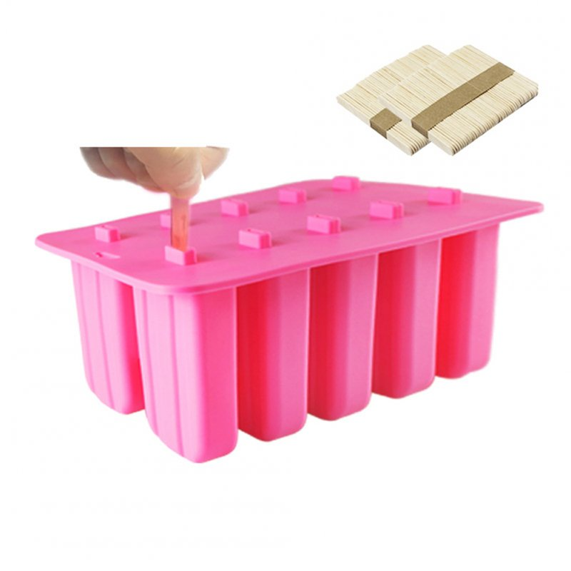 10 Cells Ice Cream Popsicle Frozen Mold Silicone Ice Cream Lolly Maker Mould Ice Tray with Cover Lid Pink