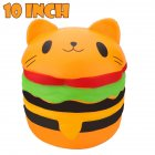 10 Inch Cute Cat Head Hamburger Squishy Slow Rising Squeeze Toy Collection Gift