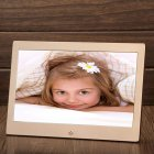 10 Inch Metal LED Digital Photo Frame Video Music Calendar Clock Player 1024x600 Resolution  109 champagne gold US plug