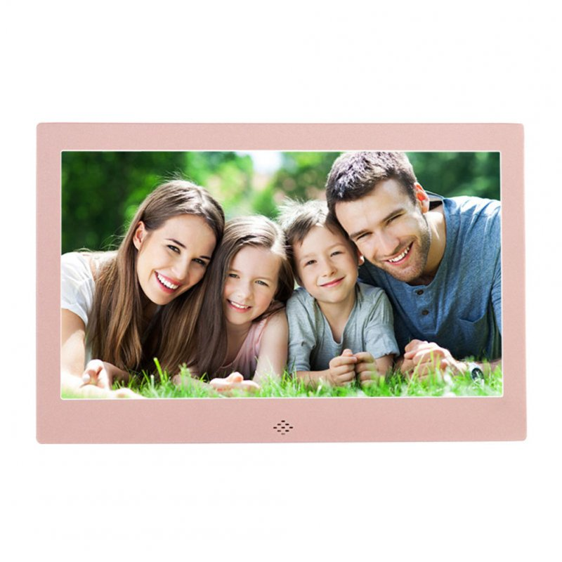 10 Inch Metal LED Digital Photo Frame Video Music Calendar Clock Player 1024x600 Resolution  Rose gold EU plug