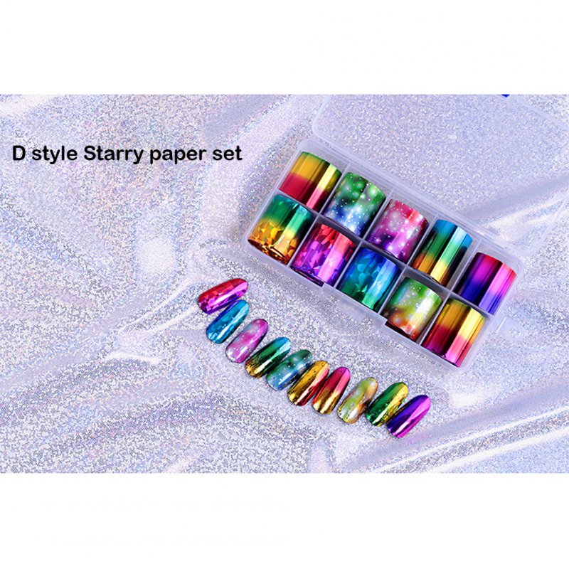 10 Rolls Foil Decals DIY Nail Stickers