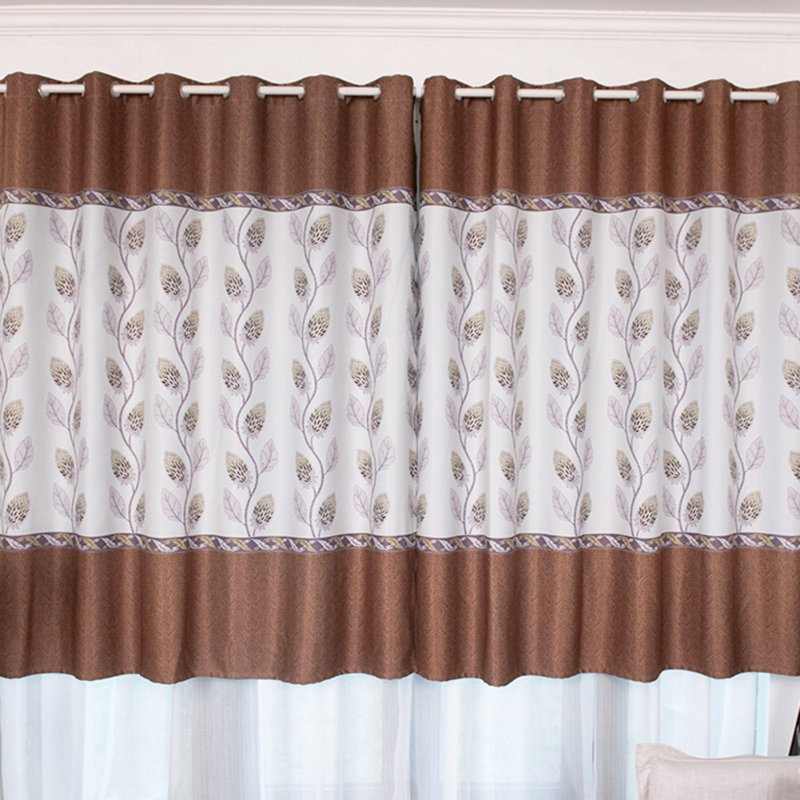100*200cm Blackout Curtain Floral Print Perforated Drapes for Living Room Bedroom Balcony Decor Coffee color_100*200cm (W*H)