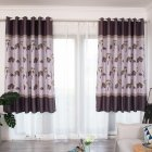 100 200cm Blackout Curtain Leaf Print Perforated Drapes for Home Bedroom Balcony Decoration Coffee color 100 200cm  W H