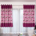 100*200cm Blackout Curtain Leaf Print Perforated Drapes for Home Bedroom Balcony Decoration purple_100*200cm (W*H)