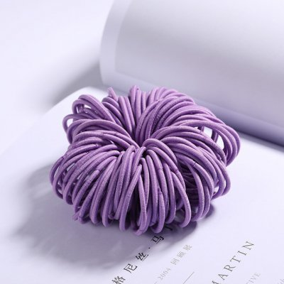 100 Pcs Hair Rope Cute Elastic Hair Ring Headband for Girls purple