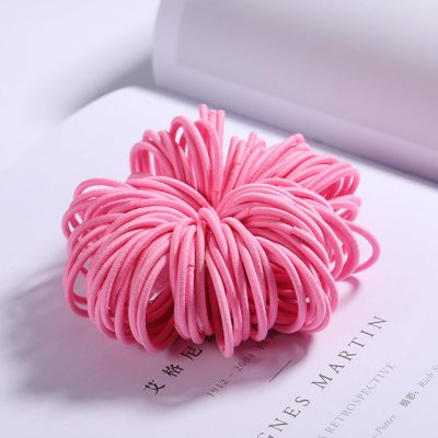 100 Pcs Hair Rope Cute Elastic Hair Ring Headband for Girls Pink