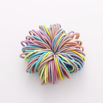 100 Pcs Hair Rope Cute Elastic Hair Ring Headband for Girls Light color