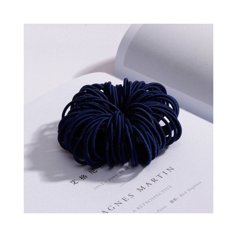 100 Pcs Hair Rope Cute Elastic Hair Ring Headband for Girls Navy