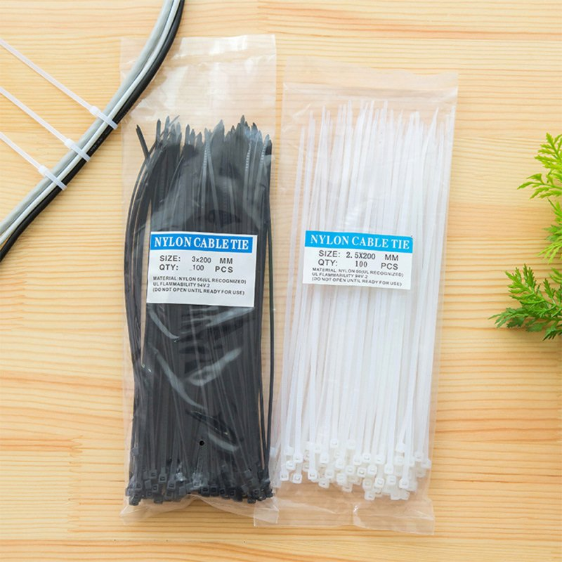 100 Pcs Self-locking Type Nylon Cable Tie,Multi-Purpose Cable Tie  Black large 2.5*200mm
