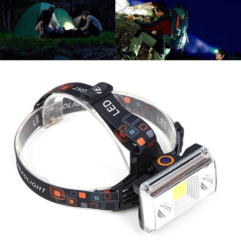 10000 Lumens COB LED Headlamp USB Charging Headlight Tactical 4-Mode Bicycle Flashlight Hunting Head Light White light