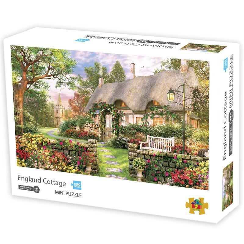 1000Pcs/box Paper Jigsaw Puzzle Kid Educational Intellectual Adult Decompressing Fun Family Game British Cottage