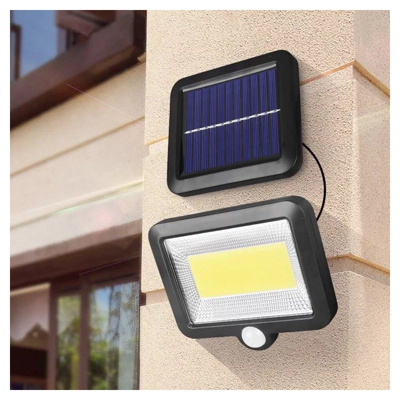 100LEDs Solar Charging Wall Light with COB Lamp Beads Human Body Induction for Outdoor Garage 100COB