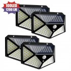 100LEDs Solar Light Outdoor 3Modes 4Sides Lighting Motion Sensor Wall Lamp White light_Black case