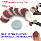 100Pcs 3 Inch 75mm Sandpaper Sander Disc Mix Sanding Polishing Pad 80-3000 grits 1 pack (3 inch 100 pieces (80-3000 mesh))