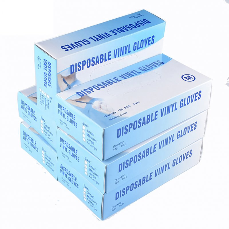 100Pcs Disposable Gloves Transparent Gloves Medical PVC Food Grade Latex Gloves L-100 pcs / box