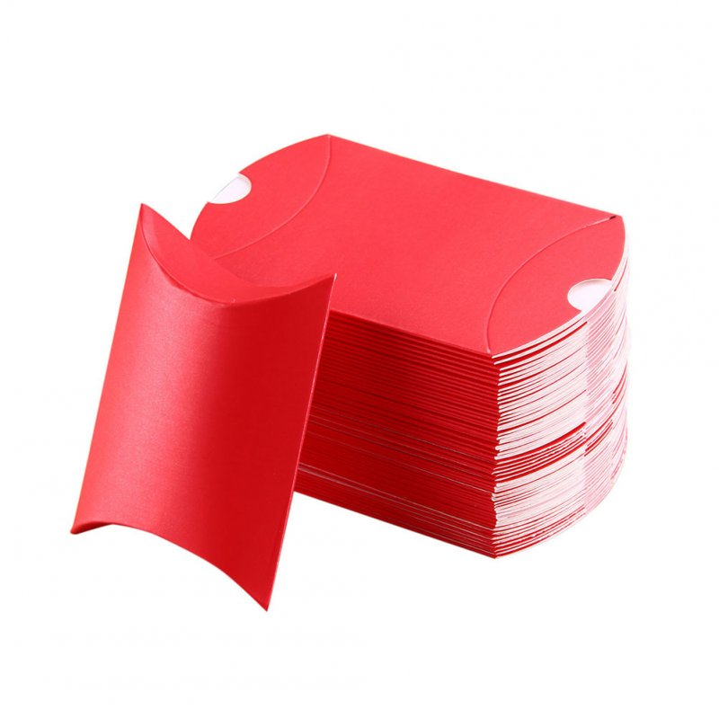 100Pcs Pillow Shape Candy Box Sweet Wedding Party Birthday Favour Gift Candy Box Red_9X7X2.5cm