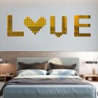 100Pcs/set Acrylic Mirror Wall Sticker Self-adhesive 3D Wallpaper DIY Home Decoration 2*2cm Gold