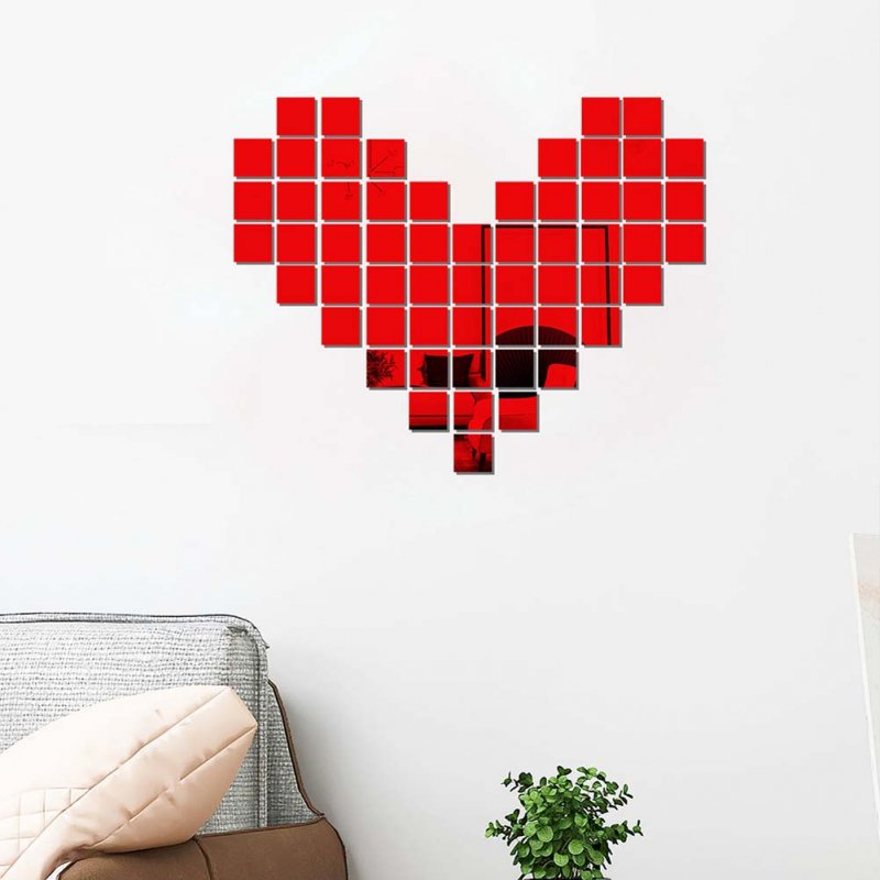 100Pcs/set Acrylic Mirror Wall Sticker Self-adhesive 3D Wallpaper DIY Home Decoration 2*2cm red