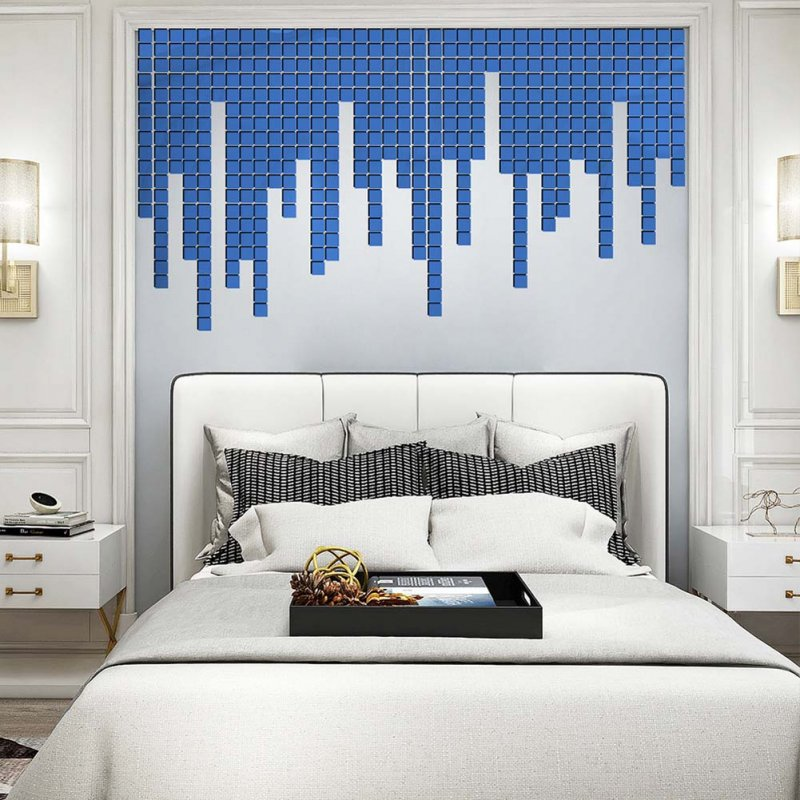 100Pcs/set Acrylic Mirror Wall Sticker Self-adhesive 3D Wallpaper DIY Home Decoration 2*2cm blue