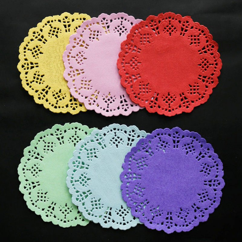 100pcs 3.5Inch Round Lace Doily Decoupage Paper for Cake Baking Mat Photo Prop Light pink 100 pcs_3.5 inch