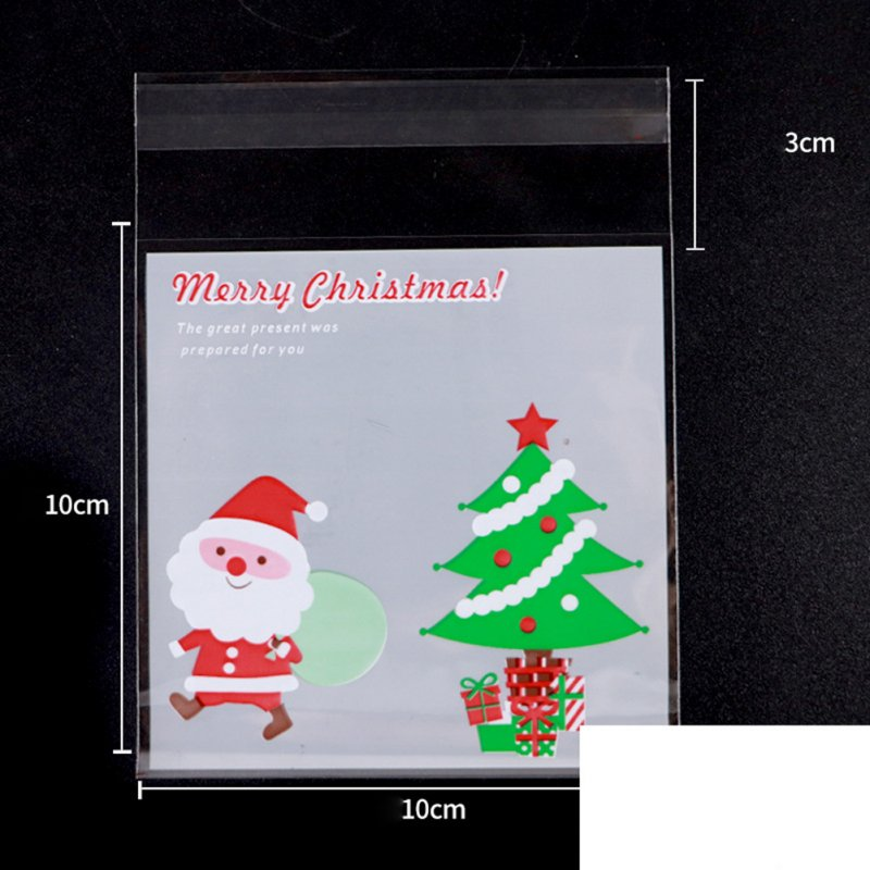 100pcs Christmas Tree Snowman Baking Bag Mooncake Cookie Biscuits Baking Packing Bag Gift Bag 048 Christmas gift