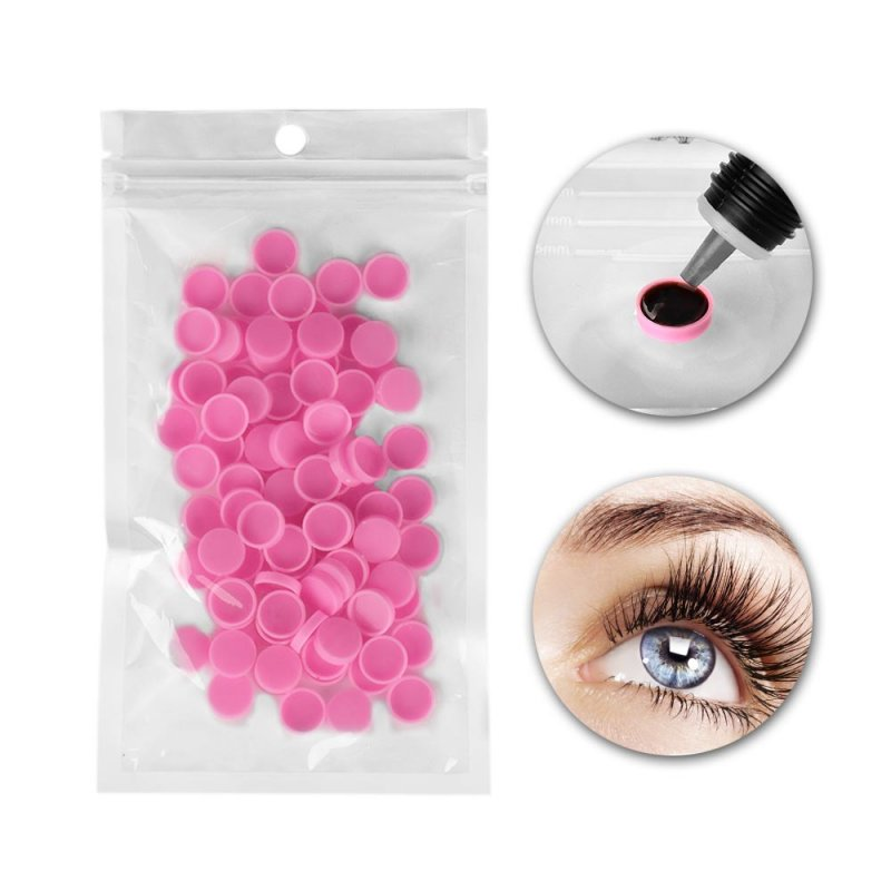 100pcs/bag Grafting Eyelash Glue Cup Pink Glue Delay Container Beauty Eyelash Tool Pink
