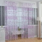 100x200cm Floral Sheer Curtain Tulle Drape for Bedroom Living Room Balcony Window Decoration purple_100*200cm