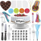 101Pcs/Set Cake Turntable Set Piping Nozzle Silicone Cake Mold Scraper Cake Decorating Supplies Tools Turntable Piping Tips 101 sets