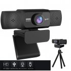1080P HD Webcam with Mic Rotatable PC Desktop Web Camera Cam Mini Computer WebCamera Cam Video Recording Work 1080P camera + triangle bracket