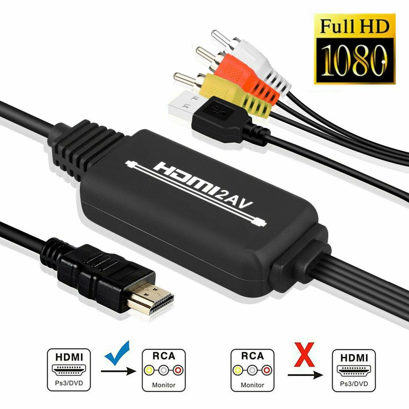 1080P HDMI to 3 RCA AV Video Audio Cable Converter Adapter For HDTV XBOX PS4 DVD black