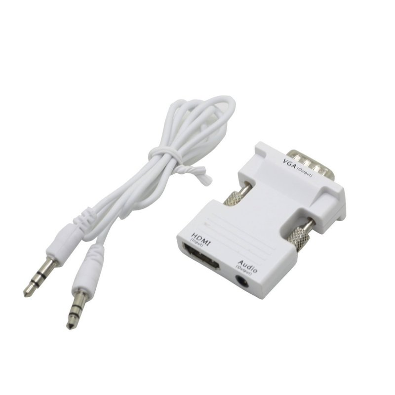 1080P VGA Male to HDMI Female HDTV with 3.5mm Audio USB Plug Cable Adapter  white