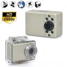 1080p Waterproof Sports Action Camera with 130 Degree Wide Angle Lens has Digital Zoom and a 2 Inch Touch Screen