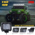 108W 4 Rows LED Work Light Bar for Offroad Off-road Truck  6000K white_2pcs/set