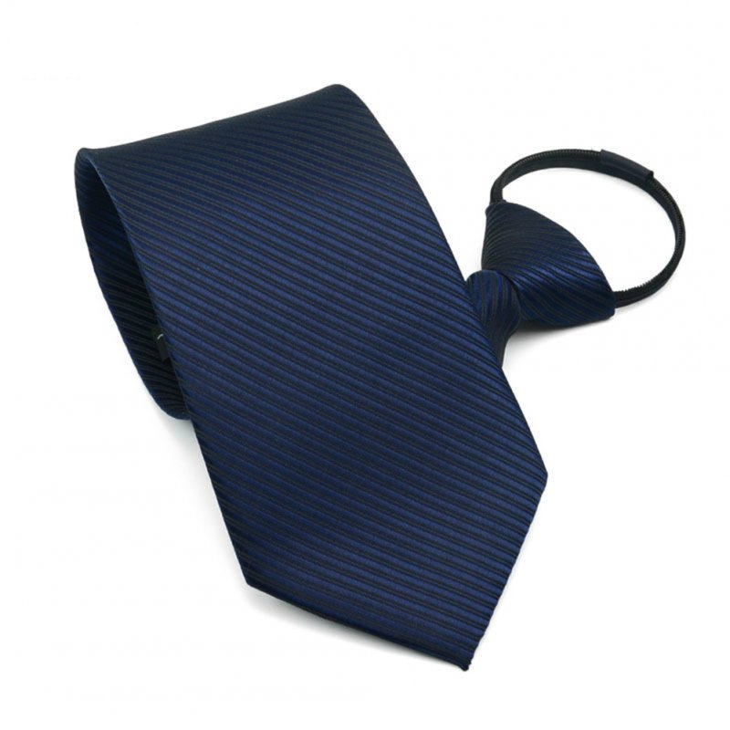 10CM Men Business Style Simple Lazy Zipper Tie Navy