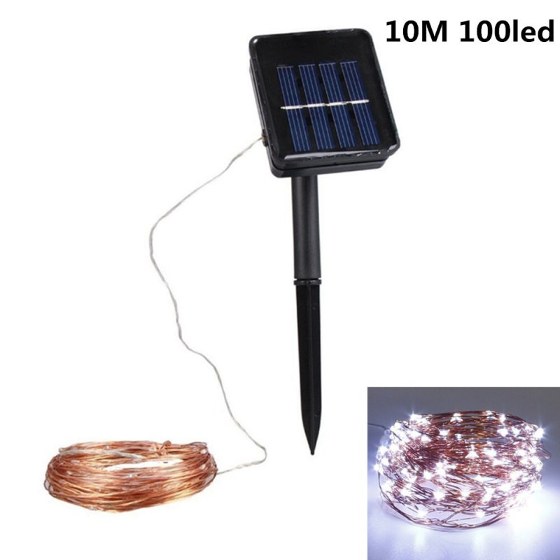 10M 100LED Outdoor Solar Powered Copper Wire String Light Night Lamp with Ground Pin Rod  Yard Garden Decoration white colour_double function copper wire colour