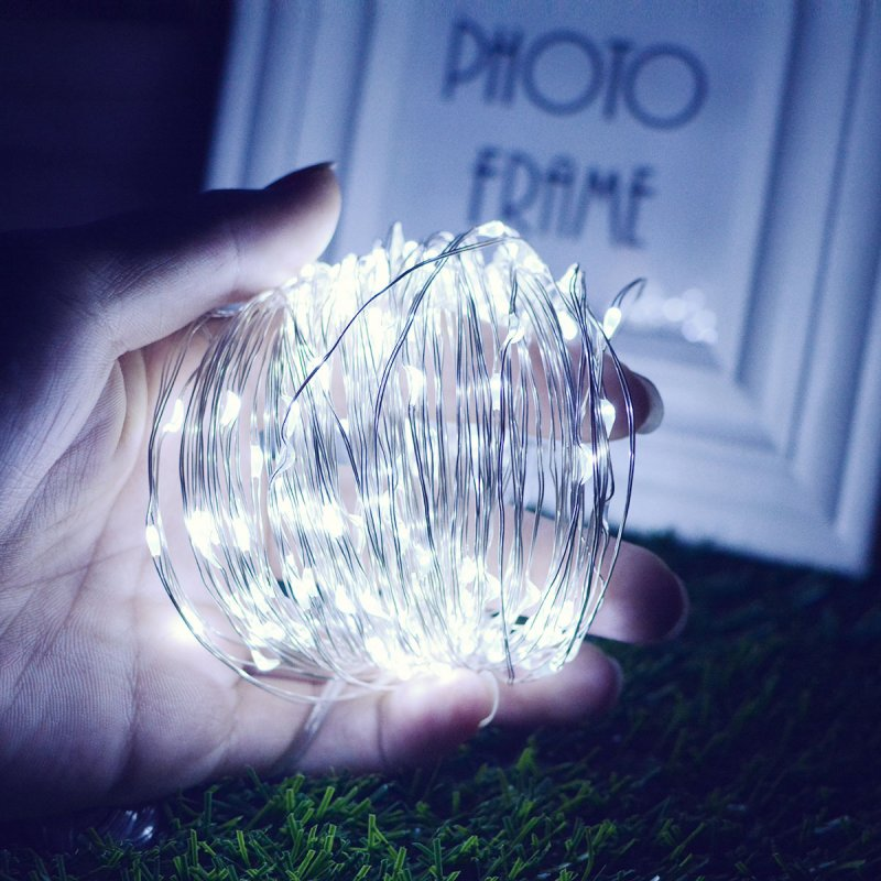 10M/20M 100LEDs/200LEDs Small Size Normally on Solar Powered Copper Wire String Light White light_20 meters 200 LED_(ME0004101)