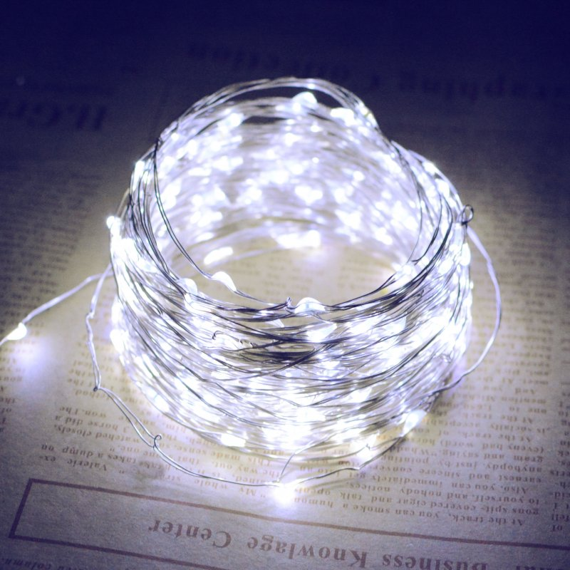 10M/20M 100LEDs/200LEDs Small Size Normally on Solar Powered Copper Wire String Light White light_10 meters 100 LED_(ME0003301)