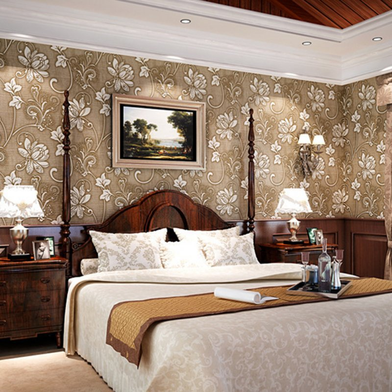 10M 3D Flower Pattern Wallpaper for Bedroom Living Room Decor Brown