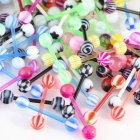 10PCS Set Colorful Ball Straight Rod Tongue Nail Wear Decoration TYJ8