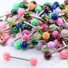Colorful Ball Straight Rod Tongue Nail
