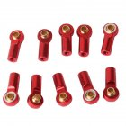 10Pcs Aluminum Alloy M3 Link Rod End Ball Joint CW CCW for 1 10 RC Car Crawler Buggy red