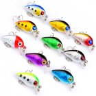 10Pcs Fishing Lures Set 10 Colors 2.6cm 1.6g Crank Baits Artificial Plastic Swimbait with Fishing Hook