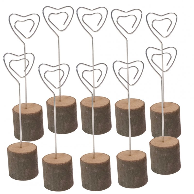10Pcs Wooden Photo Card Holders with Iron Wire for Wedding Decoration
