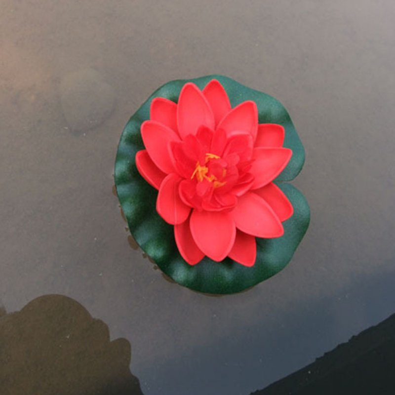 10cm Simulate Water Lily with 2-layer Flower Petals Fish Tank Pool Decoration  red