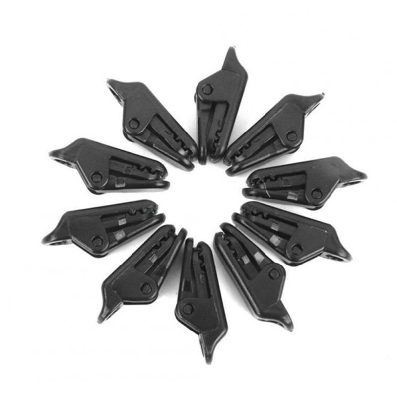 10pcs Alligator Clip Outdoor Camping Canopy Pull Point Hook Tent Windproof Clip black_About 33MM