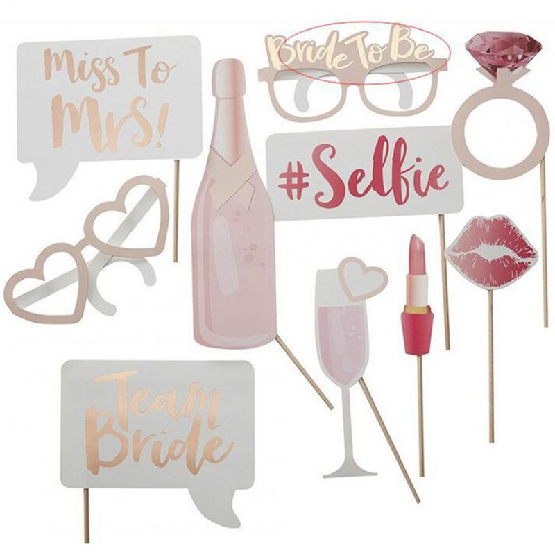 10pcs Party Photo Props Creative Mask Wedding Themed Funny Props Glasses Diamond Ring Red Wine Lipstick
