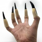 10pcs Zombie Witch Fake Fingers Nail Set Cover Halloween Costume Party Decoration Prop Witch Ghost Fake Finger Claws black