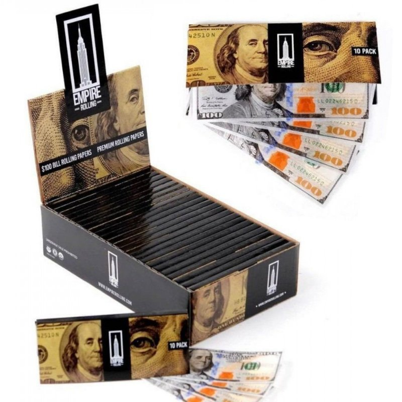 10pcs/set 100 Banknote Pattern Print 1: 1 Size Ultra-thin Rolling Papers gray
