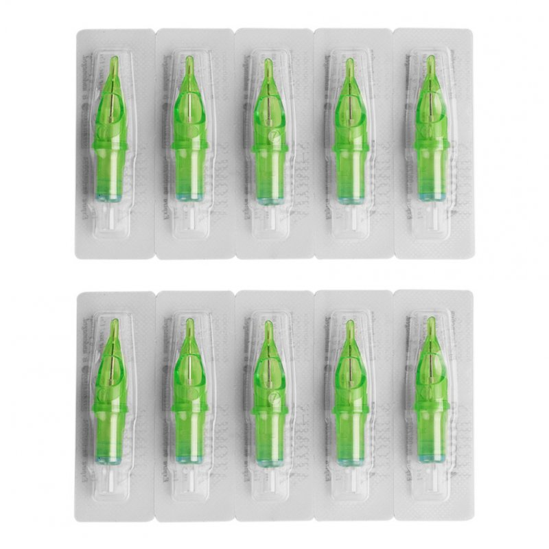 10pcs/set Green Ink Cartridge Tattoo Integrated Needle 7RL 7RL