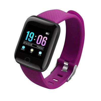 116Plus Color Screen Smart Watch Heart Rate Blood Pressure Monitor Pedometer Fitness Tracker purple